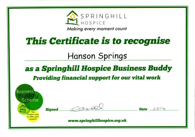 Springhill Hospice Business Buddies Certificate